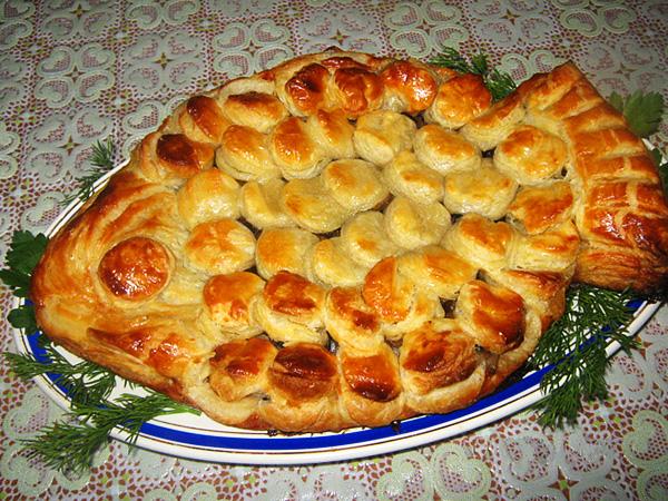 157Слоеный пирог с семгой рецепт