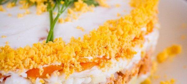 Рецепт салата мимоза с семгой