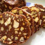 Шоколадная колбаска из печенья рецепт с фото