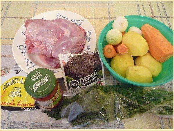 состав продуктов для жаркого из кролика