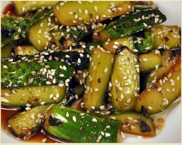 Огурцы по корейски с кунжутом