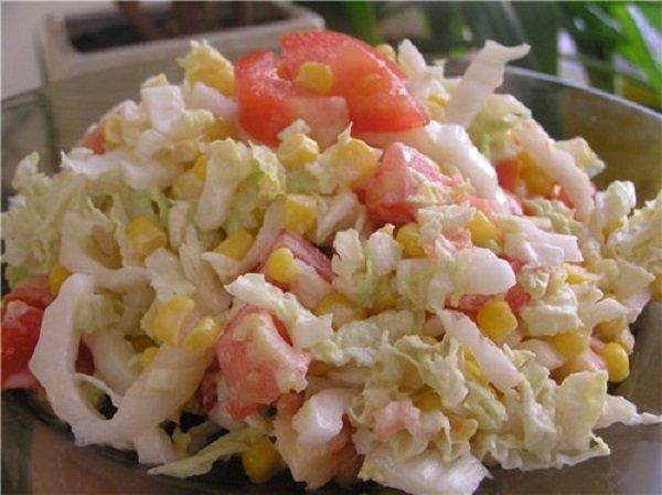 Салат из пекинской капусты и крабового мяса рецепт