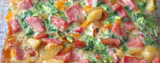 Запеканка из колбасы, картошки и яиц