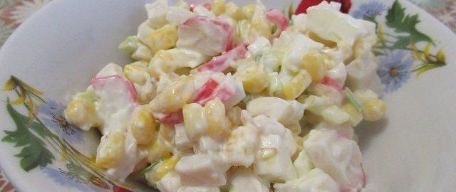 Простой салат с кальмаром