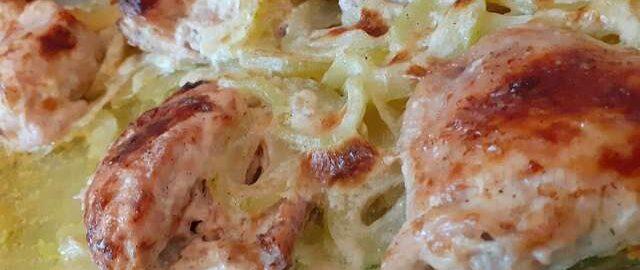 Курица с кабачком запеченная